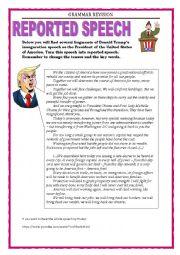 English Worksheet: GRAMMAR REVISION - REPORTED SPEECH - STATEMENTS - Trump�s speech