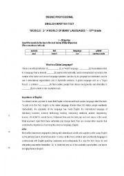 English Worksheet: 10th grade-English Written Test -module 2-