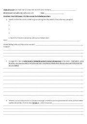 English Worksheet: Clouds of Terror Novel Study (Scholastic book)