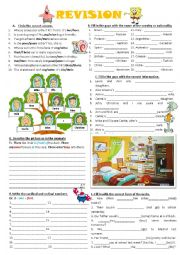 English Worksheet: Revision (Possessive adjectives, possessive pronouns, countries and nationalities,possessive case, there is/there are, cardinal and ordinal numbers, basic verb tenses)