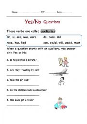 English Worksheet: Learn how to answer Yes, No questions