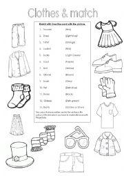 English Worksheet: Clothes & Match