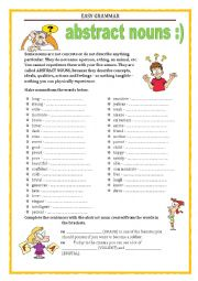 English Worksheet: EASY GRAMMAR - WORD FORMATION - ABSTRACT NOUNS with key