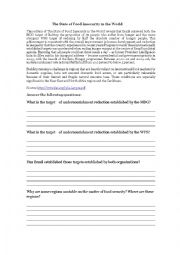 English worksheet: A printable about the state of food insecurity in Brazil