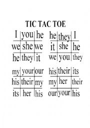 Tic Tac Toe on Personal and Possessive Pronouns
