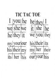 English worksheet: Tic Tac Toe on Personal and Possessive Pronouns