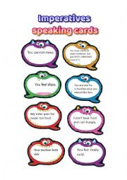 English worksheet: Imperatives, giving advice, talking cards