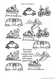 English Worksheet: Colour the transports