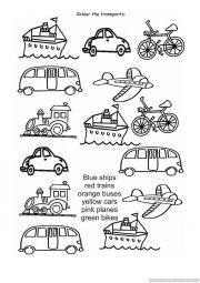 English Worksheet: Colour the transports