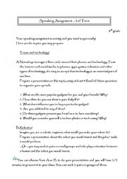 English Worksheet: speaking assignment new technologies and robotics