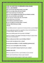 English Worksheet: FIRST CERTIFICATE SPEAKING PART 1