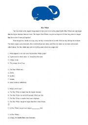 English Worksheet: Reading Practice : Blue whale