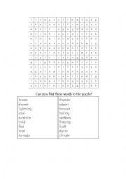 English Worksheet: Weather vocabulary crossword