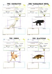 English Worksheet: australian animals fact blank posters