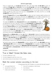 English Worksheet: Jack O� Lantern Short story