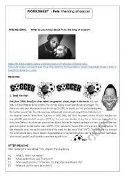 English Worksheet: Pel�: The King of soccer