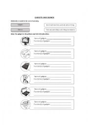 English Worksheet: Gadgets and Gizmos