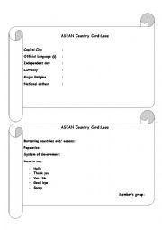 English Worksheet: ASEAN Country card Laos