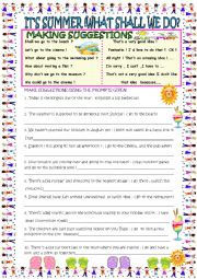 English Worksheet: It�s summer! What shall we do? suggestions with answer keys