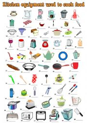 English Worksheet: Kitchen equipment used to cook food.  Pictionary + KEY