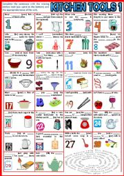 English Worksheet: Kitchen Tools 1. Fill in the gap + Verb Tenses + KEY