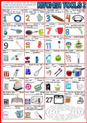 English Worksheet: Kitchen Tools 2. Fill in the gap + Verb Tenses + KEY