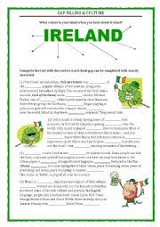 English Worksheet: GAP FILLING - CULTURE - IRELAND