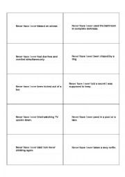 English Worksheet: Never have I ever game cards
