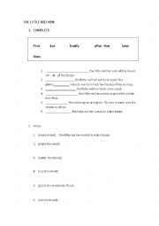 English Worksheet: THE LITTLE RED HEN - STORY SEQUENCE