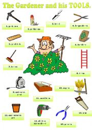 English worksheet: The gardener and his tools. Pictionary + KEY