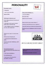 English worksheet: Personality quiz