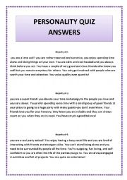 English worksheet: personality quiz answers