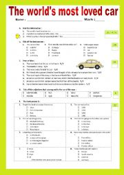 English worksheet: The world´s most loved car.  Listening + Script + KEY