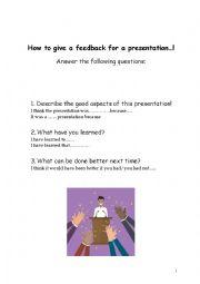 English worksheet: Giving feedback for a presentation
