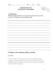 English worksheet: Fantastic Mr Fox