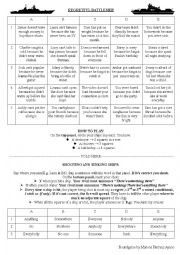 English Worksheet: Regretful Battleship - Boardgame to practise conditionals, I wish, If only and indeterminate pronouns