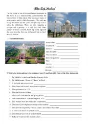 English Worksheet: The Taj Mahal video exercise