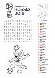 Wordsearch World Cup Russia 2018