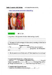 English Worksheet: India�s child brides