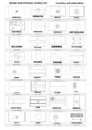 English Worksheet: Russia 2018 Countries and nationalities