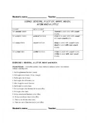English Worksheet: Countable and Uncountable Nouns and Adverbs of Quantity