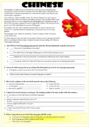 English Worksheet: CHINESE: THE GLOBAL LANGUAGE