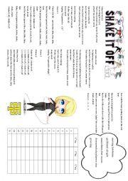 English Worksheet: Taylor Swift Shake it off
