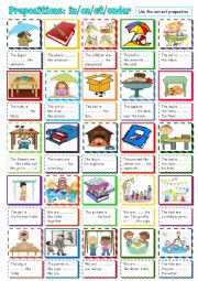 English Worksheet: Prepositions of Place: in/ on/ under/ at