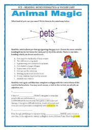 FCE - WORD FORMATION. READING, VOCABULARY & WRITING - ANIMALS