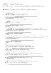 English Worksheet: Adverbs - sentence transformation