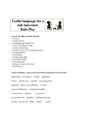 Job Interview Role Play: Useful Language