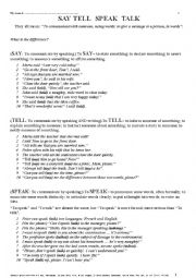 English Worksheet: GRAMMAR 012 Say tell speak talk ... Four Verbs - similar meaning