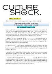 Culture shock worksheet