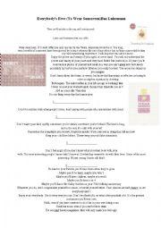 English Worksheet: baz luhrmann wear sunscreen